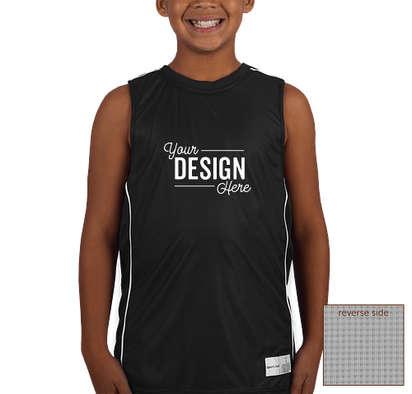 Sport-Tek Youth Micro-Mesh Reversible Sleeveless Jersey - Black / White