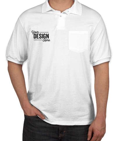 Hanes EcoSmart 50/50 Jersey Pocket Polo - White
