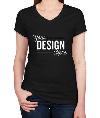 Bella + Canvas Women's Slim Fit Jersey V-Neck T-shirt - Black