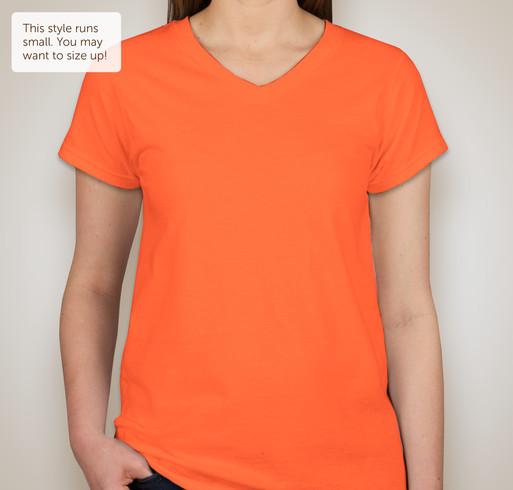 District Juniors Neon V-Neck T-shirt - Neon Orange