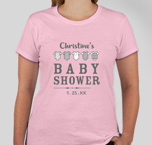 Baby shower t-shirts are the way to go. All the women can wear the same shirt and have it as a personalized keepsake, or you can create a design for the new mom, dad, and baby as a gift. There's load of possibilities!