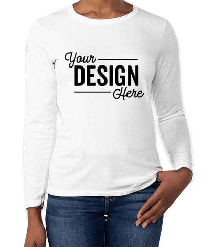 Gildan Women's 100% Cotton Long Sleeve T-shirt - White