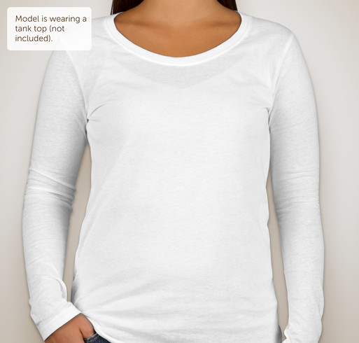 Anvil Ladies Lightweight Scoop Neck Long Sleeve T-shirt - White