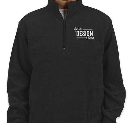 Harriton Quarter Zip Fleece Pullover - Black
