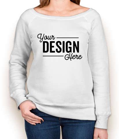 Bella + Canvas Women's Tri-Blend Wide Neck Sweatshirt - Solid White Triblend