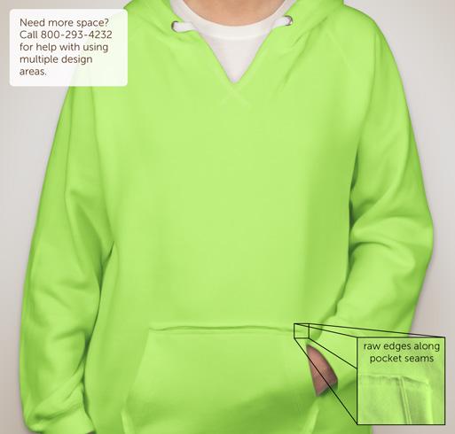 J. America Ladies Neon V-Neck Hooded Sweatshirt - White