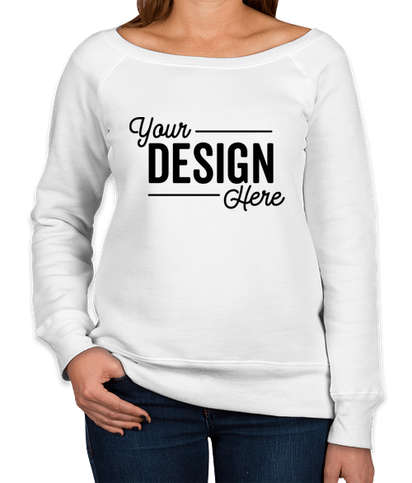 Canada - Bella + Canvas Women's Tri-Blend Wide Neck Sweatshirt - Solid White Triblend