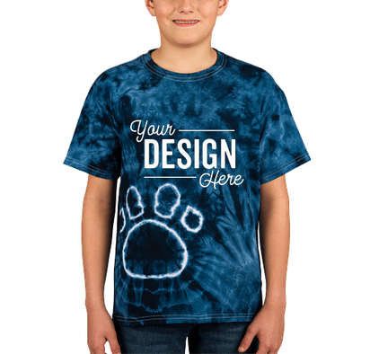 Dyenomite Youth Paw Print Tie-Dye T-shirt - Black