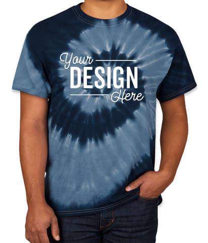 Dyenomite 100% Cotton Two-Tone Spiral Tie-Dye T-shirt - Navy