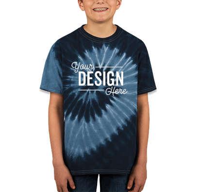 Dyenomite Youth 100% Cotton Two-Tone Spiral Tie-Dye T-shirt - Navy