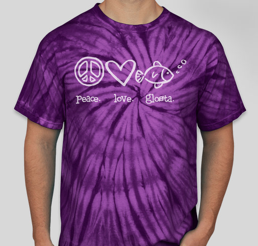 Peace. Love. Glosta. Tie-Dyed T-shirts in purple or aqua Fundraiser - unisex shirt design - front