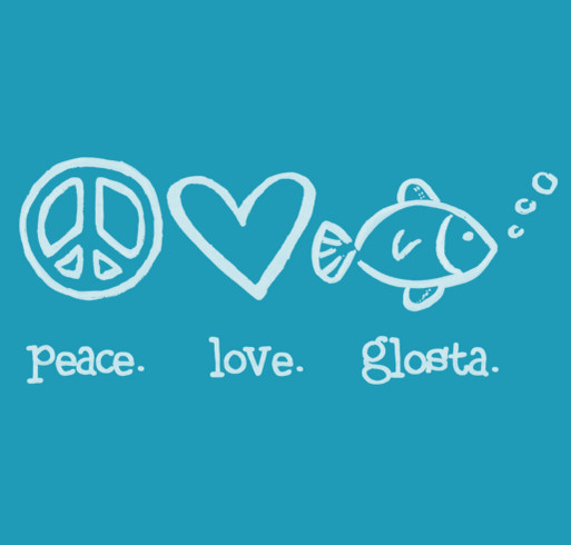 Peace. Love. Glosta. Tie-Dyed T-shirts in purple or aqua shirt design - zoomed