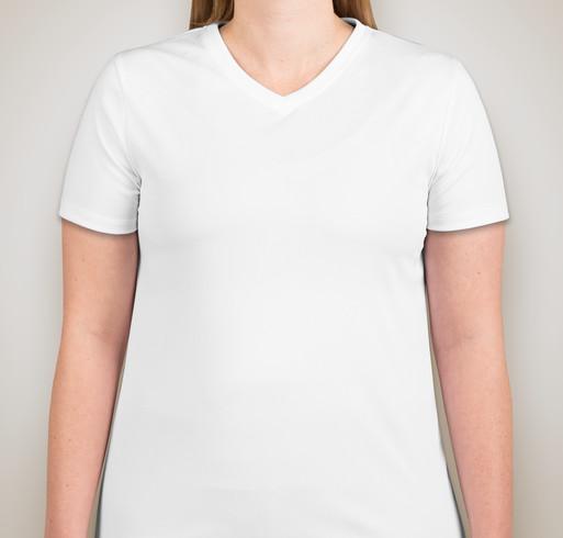 Hanes Ladies Cool Dri V-Neck Performance Shirt - White