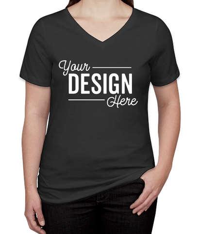 Bella + Canvas Women's Tri-Blend V-Neck T-shirt - Charcoal Black Triblend
