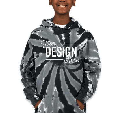 Port & Company Youth Tie-Dye Pullover Hoodie - Black