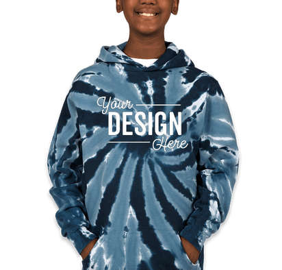 Port & Company Youth Tie-Dye Pullover Hoodie - Navy