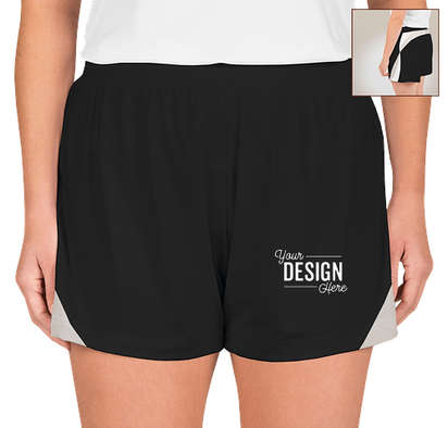 Team 365 Women's Colorblock Performance Shorts - Black / Sport Silver