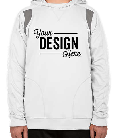 Team 365 Contrast Performance Pullover Hoodie - White / Sport Graphite