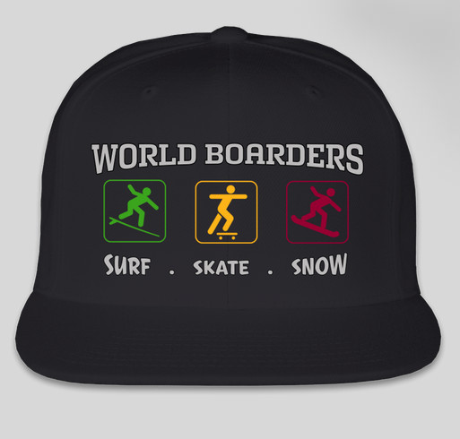 66ba59577b522 WORLD BOARDERS - SURF SKATE SNOW RASTA HATS Fundraiser - unisex shirt  design - front