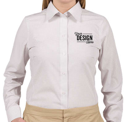 Devon & Jones Women's Gingham Dress Shirt - Silver