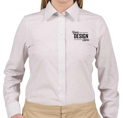 Devon & Jones Women's Gingham Dress Shirt - Silver