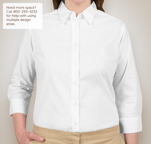 Port Authority Ladies 3/4 Sleeve Easy Care Twill Shirt - White / Light Stone