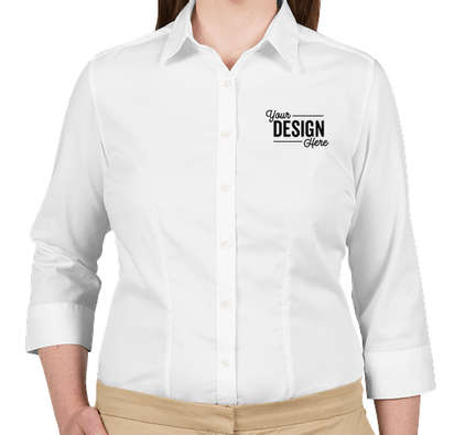 Van Heusen Women's 3/4 Sleeve Baby Twill Dress Shirt - White