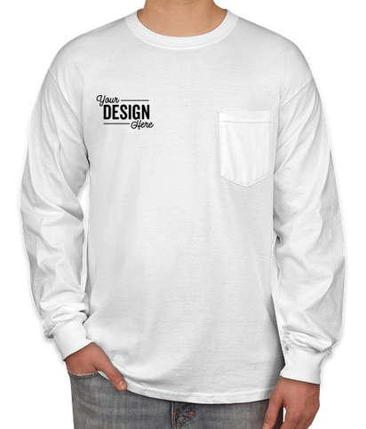 Canada - Gildan Ultra Cotton Long Sleeve Pocket T-shirt - White
