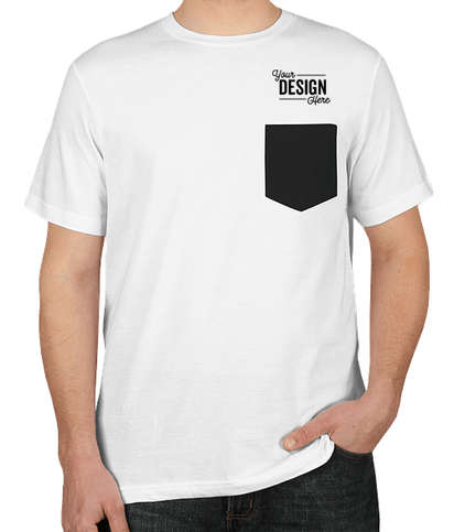 Bella + Canvas Jersey Contrast Pocket T-shirt - White / Black