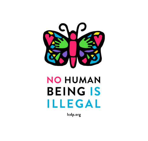 No Human Being is Illegal - Give Health to Immigrants! shirt design - zoomed