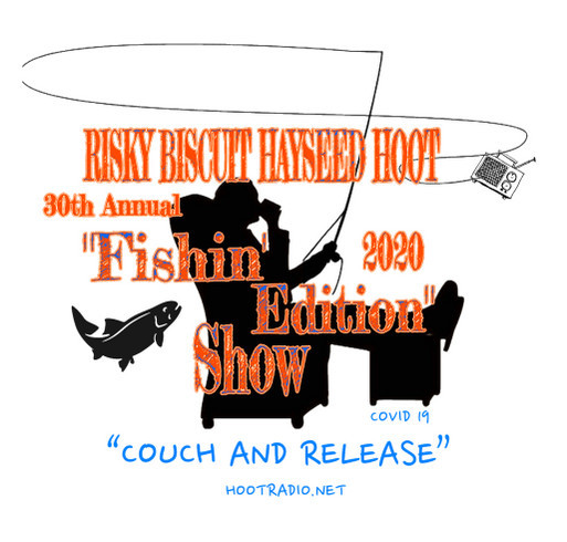 Risky Biscuit Hayseed Hoot Couch and Release Fundraiser shirt design - zoomed