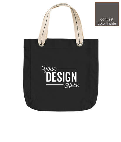Port Authority Garment Washed Cotton Canvas Contrast Tote - Black