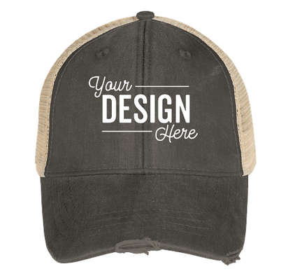 Adams Pigment Dyed Distressed Trucker Hat - Black / Tan