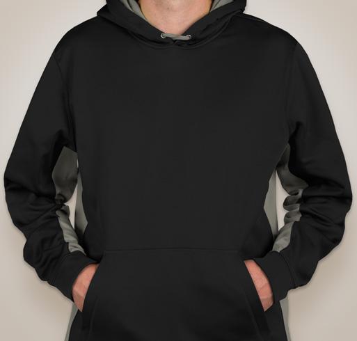 Sport-Tek Colorblock Performance Hooded Sweatshirt - Black / White