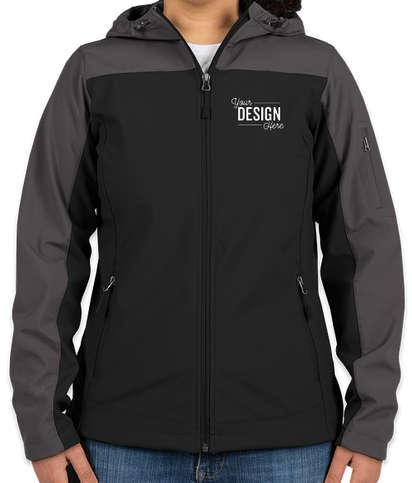Port Authority Women's Contrast Hooded Soft Shell Jacket - Black / Battleship Grey