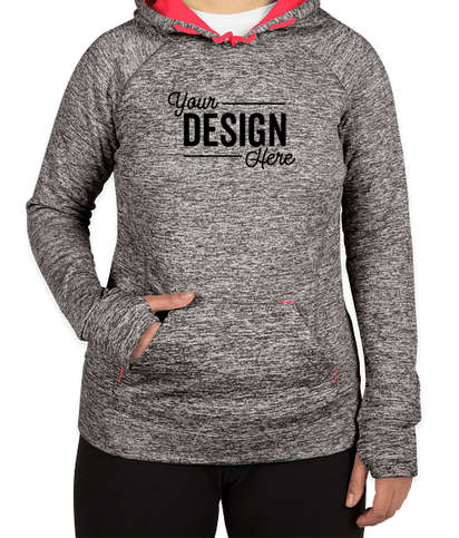 J. America Women's Cosmic Performance Pullover Hoodie - Charcoal Fleck / Fire Coral