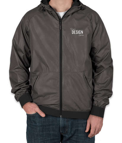 Sport-Tek Embossed Full Zip Hooded Jacket - Graphite / Black
