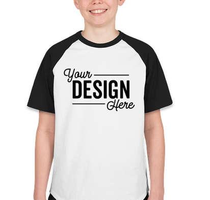Sport-Tek Youth Short Sleeve Raglan T-shirt - White / Black