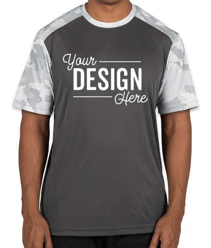 Sport-Tek CamoHex Colorblock Performance Shirt - Iron Grey / White