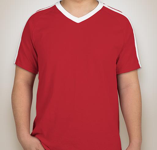 Augusta Shoulder Stripe Jersey T-shirt - White / Red