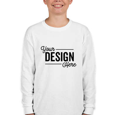 Canada - Gildan Youth 100% Cotton Long Sleeve T-shirt - White