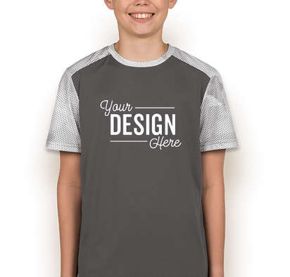 Sport-Tek Youth CamoHex Colorblock Performance Shirt - Iron Grey / White