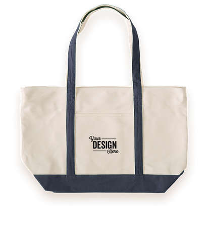 Large Heavyweight Cotton Zippered Boat Tote - Blue