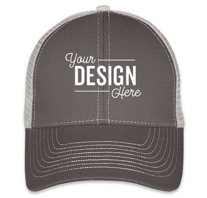 Mega Cap Contrast Stitch Trucker Hat - Dark Grey / Grey
