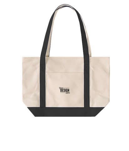 Embroidered Medium Premium Cotton Canvas Boat Tote - Black