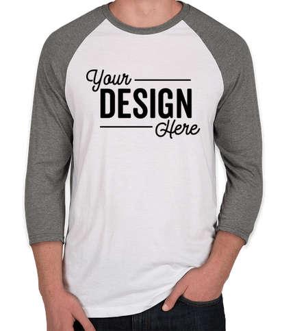 District Tri-Blend Raglan T-shirt - Grey Frost / White