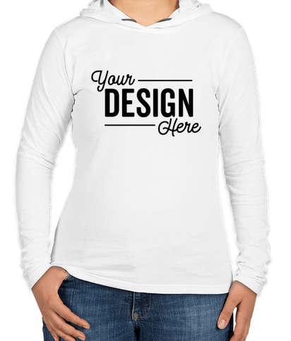 Anvil Women's Hooded Long Sleeve T-shirt - White