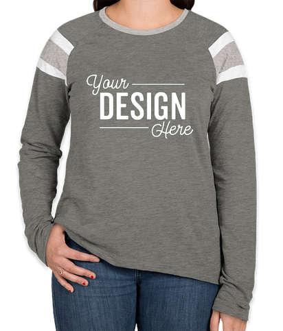 Augusta Women's Fanatic Long Sleeve T-shirt - Slate / Athletic Heather / White