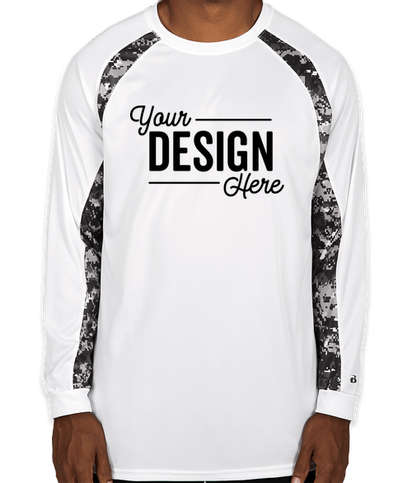 Badger Digital Camo Long Sleeve Performance Shirt - White / Black