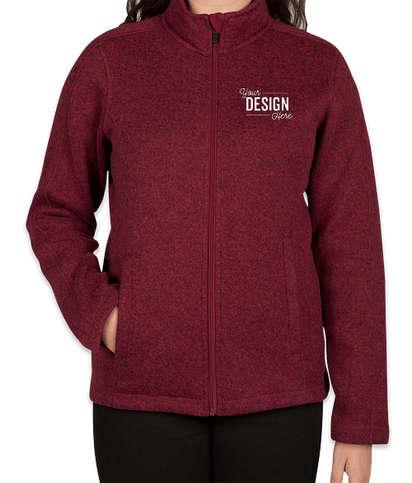 Devon & Jones Women's Full Zip Sweater Fleece Jacket - Burgundy Heather